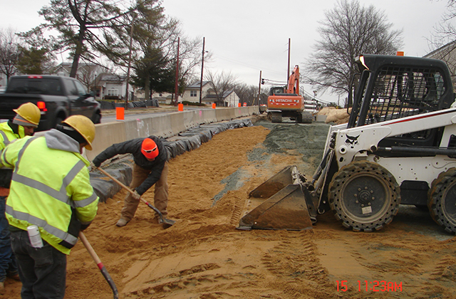 Grading Sand over Gas Line at MD 175 at Reece Rd., Anne Arundel County for MSHA