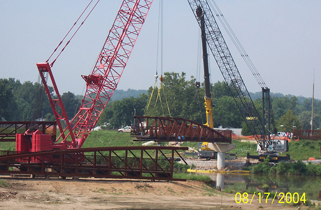 Setting-160 Ft. Bridge with 3 Cranes at Bladensburg Waterfront Park- for MNCPPC