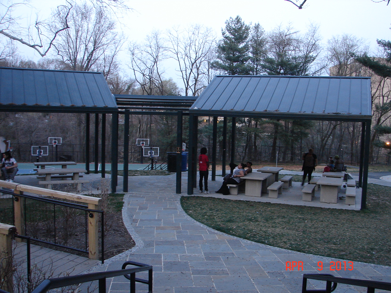 Pavilions with Stone Walkway at Takoma Piney Branch Park,Montgomery County for MD-NCP&PC